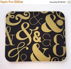 SALE  Mouse Pad mousepad / Mat  round or rectangle  Gold by Laa766  chic / cute / preppy / computer, desk accessories / cubical, office, home decor / co-worker, student gift / patterned design / match with coasters, wrist rests / computers and peripherals / feminine touches for the office / desk decor