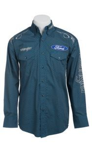 best sneakers f0c24 b4319 Wrangler Blue Ford Logo Embroidery Long Sleeve Western Shirt MP2290M    Cavender s Camisas Occidentales, Western
