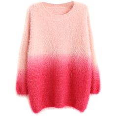 Choies Rose Ombre Fluffy Mohair Sweater (4070 ALL) ❤ liked on Polyvore featuring tops, sweaters, shirts, outerwear, blouses, pink, ombre top, rose sweater, rose shirt and red top