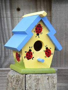 Small Decorative Handpainted Bird House - Ladybugs