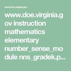 www.doe.virginia.gov instruction mathematics elementary number_sense_module nns_gradek.pdf