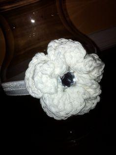 White Elastic Crochet Flower Headband by Mommy's Treasures on Etsy, $10.00 @kara - this is all you girl