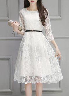 White Three Quarter Sleeve Midi Lace Dress on sale only US$25.43 now, buy cheap White Three Quarter Sleeve Midi Lace Dress at lulugal.com
