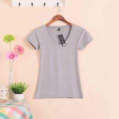 V-neck Solid Color Short Sleeve T-Shirt