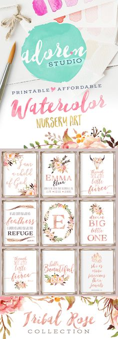 Introducing the Tribal Rose Collection from Adoren Studio on Etsy  Tribal Nursery Decor, Nursery Wall Art, Nursery Decor, Nursery Printables, Floral Nursery, Watercolor Nursery Art, Rose Gold Nursery, Baby Girl Nursery Quote Print