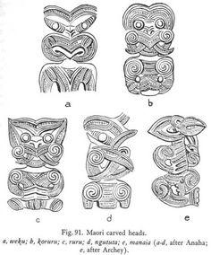 Fig. 91. Maori carved heads.a, weku; b, koruru; c, ruru; d, ngututa; e, manaia (a-d, after Anaha; e, after Archey).