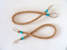 Hemp Rope curtain tie backs Nautical Navy Turquoise tiebacks