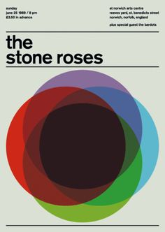 the stone roses at norwich arts centre, 1989 | SwisstedShop--punk and new wave posters meet swiss modernism