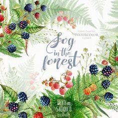 Watercolor Wedding ClipArt. Blackberries, Raspberries, Fern, Hand Painted Wreath & Bouquets, Forest, Boho, Rustic, DIY, invite, invitations