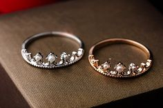 Slim crown ring with tiny pearls in white gold / pink by Joowel, $14.75