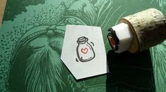 Tiny Corked Jar with Love Hand Carved Rubber Stamp Mounted on Wood