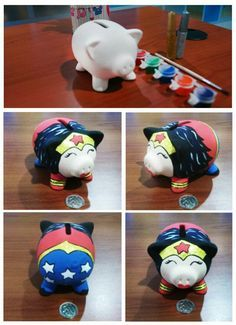 José y mary Pebble Painting, Pottery Painting, Ceramic Painting, Pig Bank, Personalized Piggy Bank, Mini Pigs, Peppa Pig, Painting For Kids, Diy And Crafts