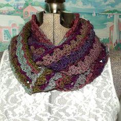 Crochet Infinity Scarf Purple Mauve Olive by WildHeartYarnings