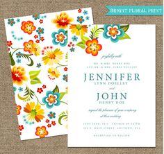 BRIGHT FLORAL WEDDING invitations  Printable by ArtsyPrintables, $45.00