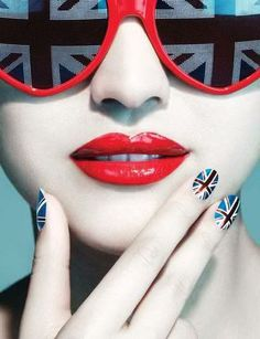 Apparently you can nail that look with Union Jack nail wraps or multi-coloured nail polishes Union Jack Nails, Ray Ban Sunglasses Sale, Sunglasses 2016, British Things, London Look, London Style, Joko, Save The Queen, Nail Wraps
