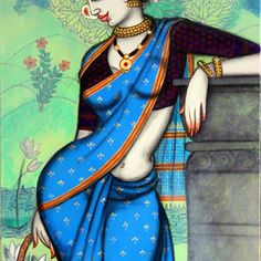 rhythmic by Varsha Kharatmal, Traditional Painting, Acrylic & Graphite on Canvas, Green color