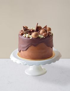 Buy the Chocolate & Caramel Dribble Cake (Serves from Marks and Spencer's range. Chocolate Caramels, Chocolate Ganache, Homemade Chocolate, Cake Icing, Cupcake Cakes, Cupcakes, Frosting, Rainbow Layer Cakes, 30 Birthday Cake