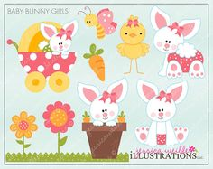 Baby Bunny Girls Cute Digital Clipart for by JWIllustrations, $5.00