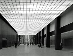 Inside the lobby of the Union Carbide building in 1960, New York