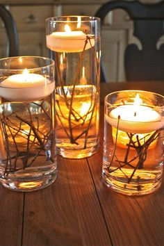 This craft couldn't be easier: Simply fill a vase with twigs and water, then place a floating candle on top. Get the tutorial at The Family CEO.