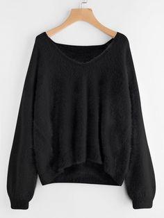 Sweaters by BORNTOWEAR. Lantern Sleeve Fluffy Sweater