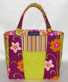 "Claire Handbag Sewing Pattern  ""This is a fun bag to make! Stack two fabrics, chop 'em up, then swap the pieces around, and the front and back of the bag will be different."""