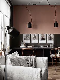 Schwarz-Beige-Altrosa. #KOLORAT #Wandgestaltung #Rose
