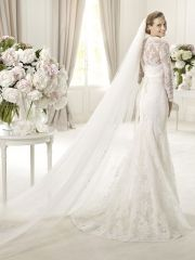 Scalloped Off-the-Shoulder Empire Wedding Dress with Short Lace Jacket and Embroidery Waist