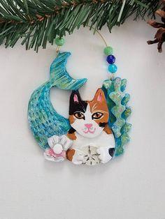 Mercat ~ Calico Cat ~ PurrMaid Cat ~ Cat Ornament ~ Nautical Theme ~ Mermaid Ornament ~ Cat Christmas Ornament ~ Cat Lover Gift by KittyCatArtStudio on Etsy