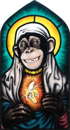 gebrandschilderd glas in lood heilig aapje. stained glass holy monkey. www.pazzoglas.nl