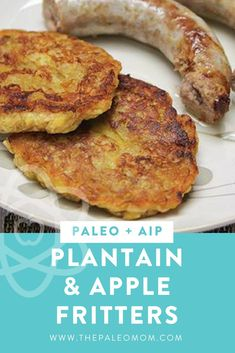 These Plantain and Apple Fritters taste like little apple pie pancakes. They are tasty warm or chilled and are great combined with pork sausage or bacon (or both! And they're AIP friendly! Plantain Fritters, Apple Fritters, Plantain Pancakes, Paleo Recipes, Whole Food Recipes, Cooking Recipes, Paleo Dessert, Beignets, Sauce Pour Porc