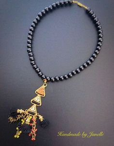 Black Beads With A Beaded Gold, Tassel Pendant Necklace Handmade ON SALE