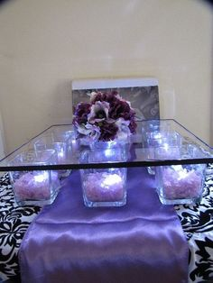 Very Special Events by V. Smith: DIY Wedding Page DIY cake stand, get small square vases from the dollar tree, fill them with any vase filler and lights. Get the glass on top from Hobby Lobby. Square Cake Stand, Cake And Cupcake Stand, Diy Cupcake, Wedding Cake Stands, Wedding Cakes, Decoration Buffet, Party Planning, Wedding Planning, Bridal Shower