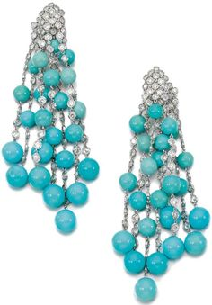 TURQUOISE AND DIAMOND EARRINGS, MICHELE DELLA VALLE.   Each designed as articulated lines spectacle-set with brilliant-cut diamonds interspersed with turquoise beads, suspended from a cluster of similarly set diamonds, clip fittings, signed della Valle.