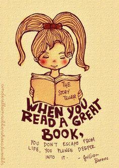 """""""Quando si legge un grande libro, non si fugge dalla vita, ci s'immerge più in profondità"""" Julian Barnee"""