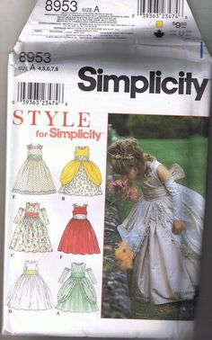 Child's Princess Flower Girl Dress Sizes 4 5 6 7 8 Sewing Pattern Simplicity 8953