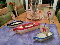 History Christopher Columbus ships made from milk cartons. History Projects, Stem Projects, Science Fair Projects, School Projects, Projects For Kids, History Activities, Fun Activities For Kids, Christopher Columbus Boats, Fun Crafts