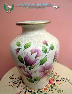 Antiguo jarron de opalina negra pintado a mano cristal - Jarrones de ceramica ...