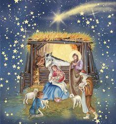 Christmas Manger and Shooting Stars by DBK-Art Licensing Christmas Manger, Christmas Nativity Scene, Christmas Scenes, Christmas Greeting Cards, Christmas Art, Christmas Greetings, Beautiful Christmas, Vintage Christmas, Mery Chrismas
