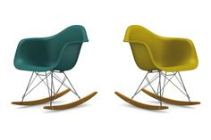 Rocking chair By Charles & Ray Eames – Réédition Vitra - chaises à bascule, bleu canard, moutarde