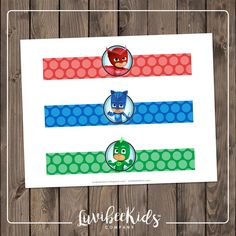 PJ Masks birthday party drink wrappers | PJ Masks Water bottle labels