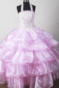 Brand New Oklahoma Baby Pink Beaded Halter Little Girl Pageant Dresses