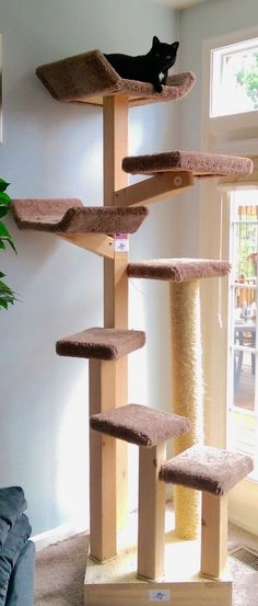 How to create an interesting DIY cat tree? - Cat tree can serve a beautiful decoration for those who are having cats in their homes. If you dont have one then you should think of creating one f. How to create an interesting DIY cat tree? Diy Cat Tree, Cat Run, Cat Towers, Cat Playground, Cat Scratching Post, Cat Climbing, Cat Condo, Pet Furniture, Animal Projects