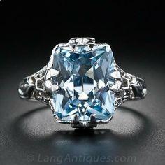 Aquamarine Filigree Ring, ca. 1930s