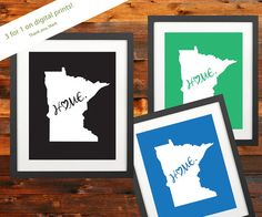 Minnesota Home Is Where The Heart Is 3 prints by WaterMarkDesignMN