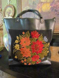 Vintage Tapestry Carpet Bag Purse Pleather by glamtownvintage, $42.00