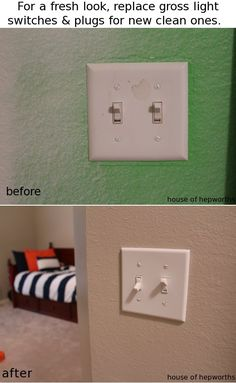 Replace light switches and plug outlets for a big impact with a small price tag