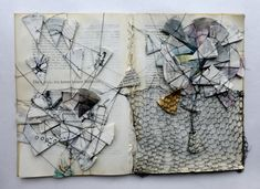 Die Geschichte kennt keinen Stillstand altered book by Ines Seidel I love to create something visually interesting out of something ordinary Textiles Sketchbook, Sketchbook Pages, Sketchbook Ideas, Altered Books, Altered Art, Altered Tins, Collages, Art Texture, Buch Design