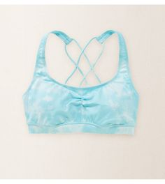Petal Blue Aerie Crisscross Sports Bra - The cute side of comfort! Flexible support for yoga, workouts & more! #Aerie