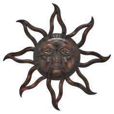 A dark bronze finish and open sun rays make the Three Hands 29 in. Metal Sun Face Wall Sculpture striking on any wall surface. At just under feet across, this classic metal sun with a face is large enough to be the centerpiece for any wall. Sun Wall Decor, Starburst Wall Decor, Medallion Wall Decor, Metal Wall Decor, Metal Wall Sculpture, Wall Sculptures, Lion Sculpture, Fall Mantel Decorations, Geometric Wall